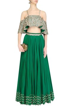 Emerald Green embroidered off shoulder blouse and lehenga skirt set available only at Pernia's Pop Up Shop.