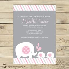 Baby Girl Shower Invitations Free Printables   twin girls elephant baby shower printable invitation pink and gray 10 ...