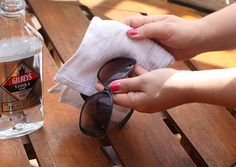 Use vodka and a cotton cloth to clean sunglasses. The vodka cuts right through sunblock! >> http://blog.diynetwork.com/maderemade/2013/07/01/6-handy-household-uses-for-vodka-the-dont-involve-drinking/?soc=pinterest