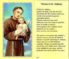 St Anthony Prayer Cards