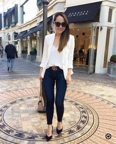 818b70135076 Chase Amie. Instagram Outfits, Instagram Posts, Outfit Posts, Cream Blazer,  Gucci