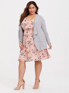 d74d6667ea8d Plus Size Blush Floral Chiffon Skater Dress, SPRING FLORAL Floral Chiffon,  Chiffon Fabric,
