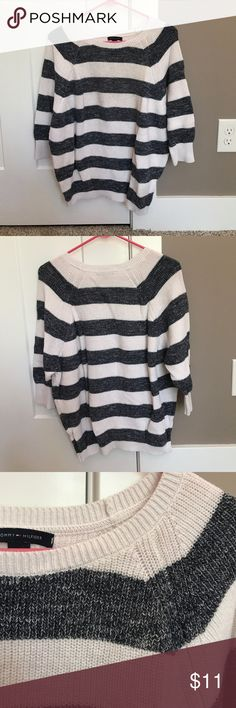 Tommy Hilfiger sweater Navy and white striped sweater with 3/4 sleeves Tommy Hilfiger Sweaters Crew & Scoop Necks