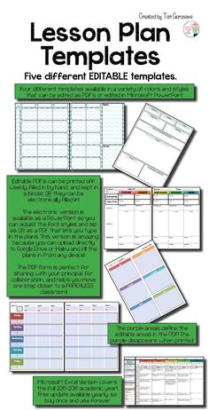Updated for the 2015 to 2016 school year. NOW EVERY TEMPLATE IS AVAILABLE AS FULLY EDITABLE PDF's, MICROSOFT POWERPOINTS, OR MICROSOFT EXCEL SPREADSHEETS! PAPERLESS CLASSROOM HERE YOU COME! Record your lessons with ease and in style on these lesson plan templates.