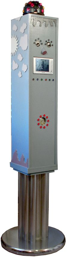 2005- Deejay  legno dipinto e materiali vari cm 210x60x60