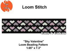 Shy Valentine Hearts Loom Beaded Bracelet Pattern Seed Bead