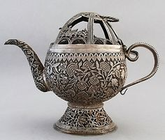 (via India / Kangri Tea Pot, Silver, from Kashmir ca.1885)