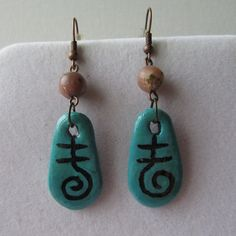 Made of Fimo, painted with acrylic paints, varnished. Overall length Beads lepidolite, Drop Earrings, Beads, Jewelry, Fimo, Beading, Jewlery, Bijoux, Schmuck, Drop Earring