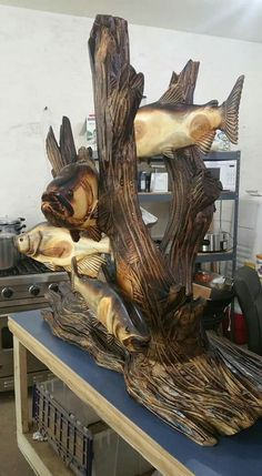 Fish Wood Carving, Tree Carving, Wood Carvings, Abstract Sculpture, Wood Sculpture, Dad Crafts, Yard Sculptures, Wood Stone, Wood Creations