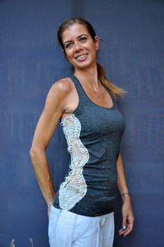 Handmade crochet lace tshirt in grey / Crochet tank by SophieCRO