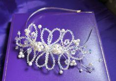 Vintage Style Tiara Swarovski Pearl & by Makewithlovecrafts, £85.00