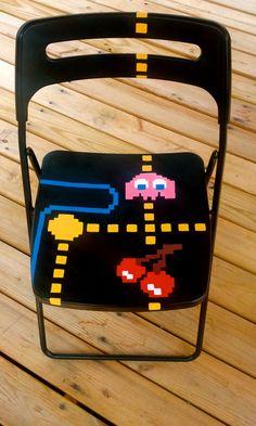 Hand Painted Pac-Man Chair, Game Room Furniture, Retro Pac-Man Pop Art, Fold Out Chair, Geek Seat, Black chair, Old School Arcade