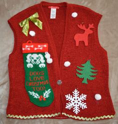 Ugly Christmas Sweater Vest Dogs Love by YourSassyGrandma on Etsy, $22.00