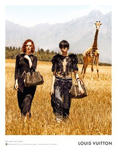 """Louis Vuitton """"Spirit of Travel""""   Karen Elson and Edie Campbell star in this campaign set in South Africa.    Peter Lindbergh #louisvuitton #karenelson #ediecampbell"""