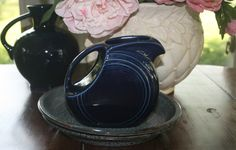 Vintage Small Fiesta Disc Pitcher Cobalt Blue Art Deco Fiestaware 28 oz Discontinued Rare by AstridsPastTimes on Etsy