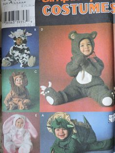 Bear Dragon Bunny Lion Cow Children's Toddler Halloween Fun Andrea Schewe Stage Play Costume Simplicity 7317 Sewing Pattern Sz. 1/2 to 4
