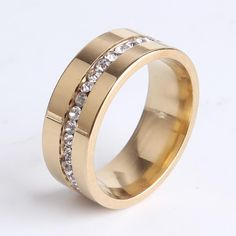 8mm gold single row crystal 316L Stainless Steel rings for women men wholesale