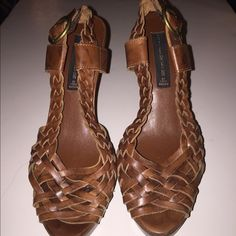 """Woven Leather Heel Great open toe, sling back heels. Ships without box. Heel is 4.75"""" and 1"""" platform in front. Steven by Steve Madden Shoes Heels"""