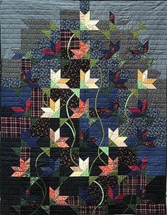 """Night Bloom -- 56"""" x 72""""   Ist prize Wall Quilt AQS '85.   In National Quilt Museum"""