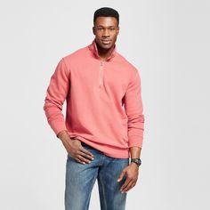 Men's Quarter Zip Fleece Pullover Sweater Tall Orange M Tall - Merona