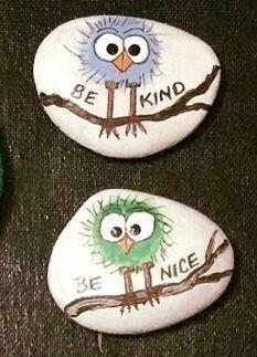 Rock painting, birds, kindness rocks, inspiration