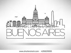 Minimal Buenos Aires City Linear Skyline with Typographic Design