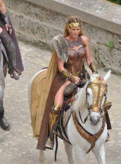 Queen Hippolyta on horseback in the 2017 Wonder Woman film