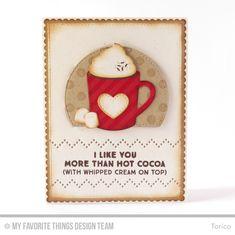 Hug In a Mug, Bold Diagonal Stripes Background, Polka Dot Background, Blueprints 20 Die-namics, Homespun Stitch Lines Die-namics, Hot Cocoa Cups  Die-namics - Torico  #mftstamps