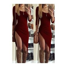 Spotted while shopping on Poshmark: NWT Round Neck Wine Red Asymmetric Hem Dress! Club Dresses, Sexy Dresses, Casual Dresses, Dresses With Sleeves, Midi Dresses, Girls Fall Outfits, Cute Swag Outfits, Sexy Outfits, Wine Red Dress