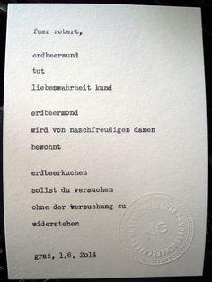 Sag mir ein Wort und ich schreib dir ein Gedicht. Wortfachgeschaeft @ Designmesse Edelstoff in Graz. Inspirationswort: Erdbeere