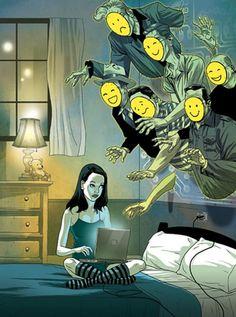 Illustrations by Tomer Hanuka (cyber predators) Satire, Satirical Illustrations, Illustrations Posters, Art And Illustration, Tomer Hanuka, Social Art, Political Art, Funny Cartoons, Dark Art
