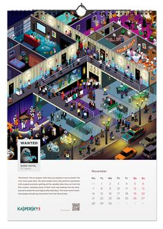 Kaspersky lab calendar 2016. Kaspersky Lab has been successfully engaged in the development of software to find viruses for many years. Therefore, a company offers to all recipients of the New Year calendar to try themselves in the role of anti-virus and find viruses-characters in the calendar pages. New Year Calendar, Calendar Pages, Calendar Design, Lab, Behance, Graphic Design, Software, Characters, Figurines