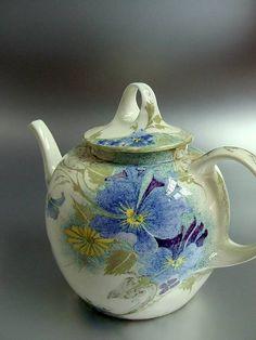 "Rozenburg, Den Haag, ""Eggshell"" Porcelain tea pot, painted by J.W ..."