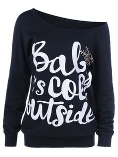 Only $9.95 for Drop Shoulder Funny Sweatshirt in Black | Sammydress.com