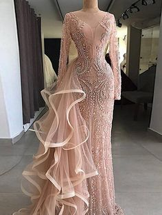Cheap Evening Dresses, Buy Directly from China Suppliers:Couture Mermaid Formal Evening Dresses With Long Sleeves Handmade Beaded Crystal Tulle Illusion Party Gown For Weddings 2018 Evening Gowns With Sleeves, Prom Dresses Long With Sleeves, Formal Evening Dresses, Elegant Dresses, Pretty Dresses, Dress Long, Lace Dresses, Cheap Dresses, Party Gowns