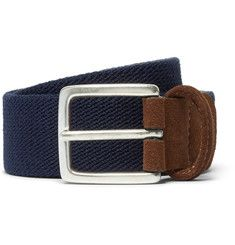 bab7a474d09 Anderson s - 3.5cm Navy Suede-Trimmed Elasticated Woven Belt Woven Belt