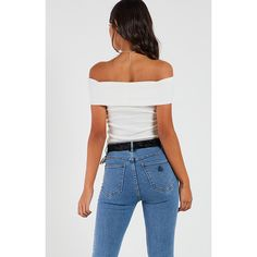 Ribbed Off The Shoulder Top White (€47) ❤ liked on Polyvore featuring tops, white off the shoulder top, white top, ribbed off the shoulder top, white ribbed top and off shoulder tops