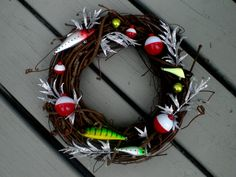 Fishing Lure nautical holiday wreath with silver seaweed & red white floaters - beach house decor on Etsy, $32.00