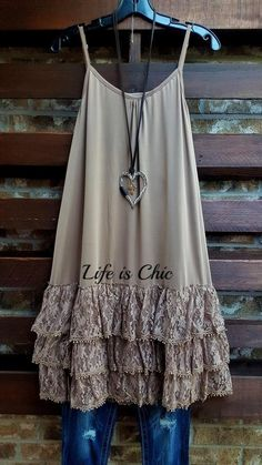 A Mocha layering with a beautiful tiered ruffle layer lace slip - Lycra Polyester Spandex Hand/ Machine Wash Cold Wash Adjustable Straps Length Ropa Shabby Chic, Boho Chic, Boho Outfits, Trendy Outfits, Fashion Outfits, Fashion Boots, Slip Extender, Estilo Jeans, Lace Slip