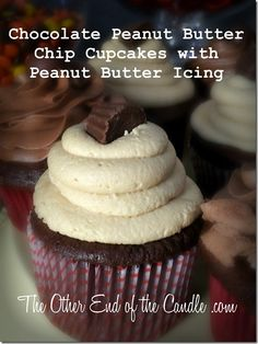 Chocolate Peanut Butter Chip Cupcake with Creamy Peanut Butter Icing via TheOtherEndOfTheCandle.com
