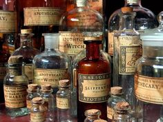 wasbella102:  Apothecary ~ labeled remedy bottles