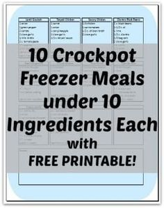 These look easy enough for a Crockpot beginner like me... 10 Crockpot Freezer Meals under 10 Ingredients Each