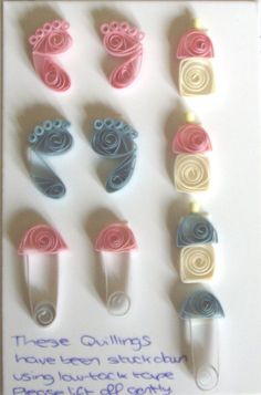 quilled Baby Feet , Bootles Nappy Pins - bjl