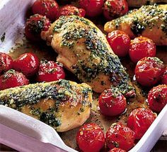pesto and chicken and tomatoes = heaven