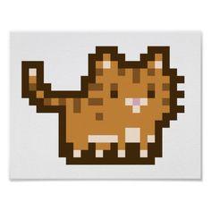 Orange Cat Pixel Art Wide Poster