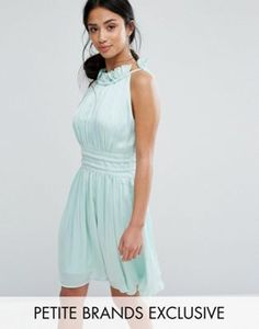 915157afda Little Mistress Petite Ruched Pleated Mini Prom Skater Dress at asos.com