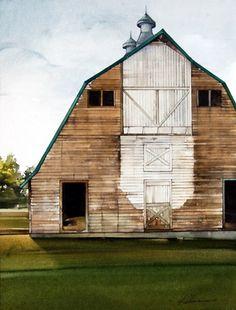 watercolor barn