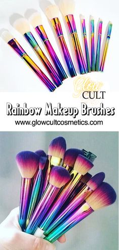 Pretty, colorful and cruelty free makeup brushes ✨ get them at glowcultcosmetics.com #makeup #beauty #contour #lashes #lips #matte #inspo #home #look