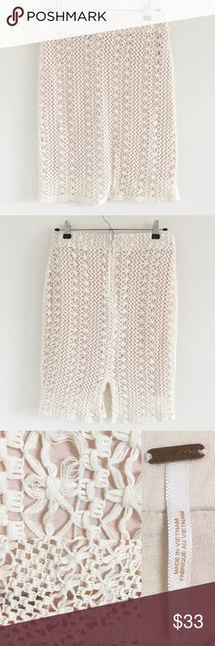 """🆕 Free People Crochet Pin Up Pencil Skirt Size 10 A super pretty skirt featuring a stretchy cream crochet shell over a pale pink jersey lining.  Perfect for date night!  Stats (laying flat): Length: approx. 22"""" 