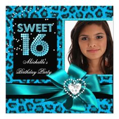 Sweet 16 Sweet Sixteen Blue Leopard Photo Personalized Invite